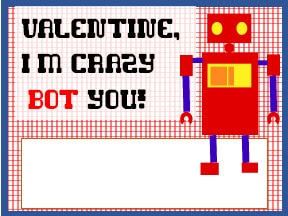Valentines for Kids - Robots - Boys